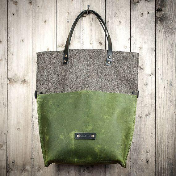 Teken stuk tas groen leer en vilt lederen tas bag door werktat