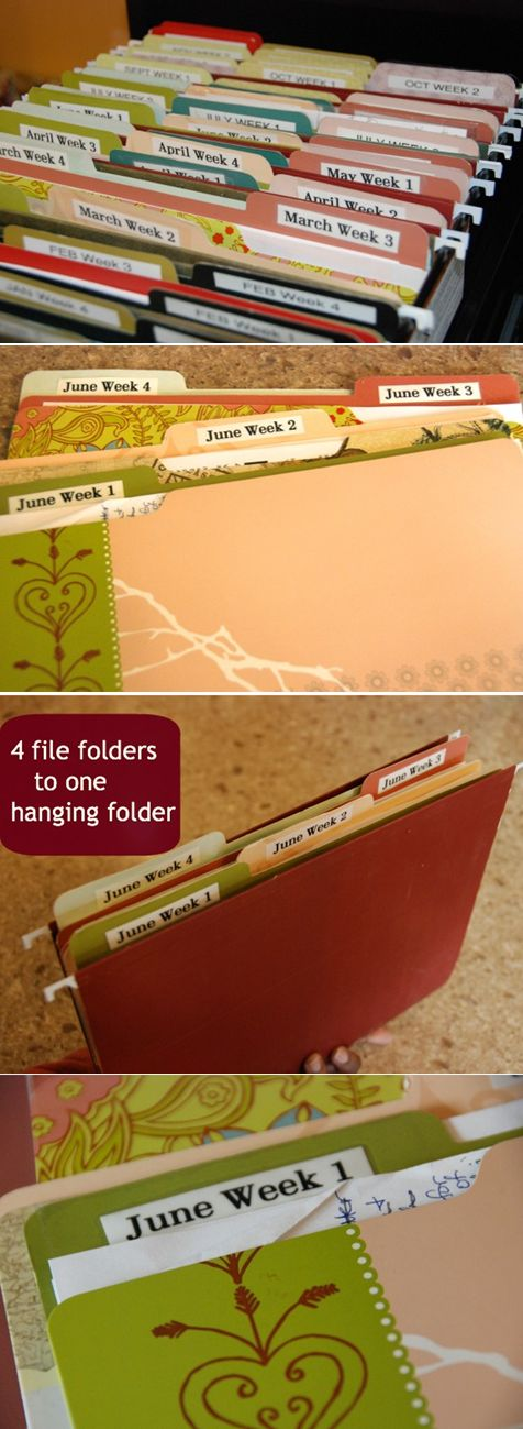 a file crate 52 file folders  12 hanging file dividers  Label maker  Ideas for File Crate System holiday food planning – recipes and shopping list holiday ideas – notes, lists, planning sheets  cards to send  printed emails – if it contains info needed for later seasonal/ vacation plans or ideas school paperwork – for field trips coupons for retail stores – not grocery, but stores & restaurants spring or fall cleaning checklists to do lists