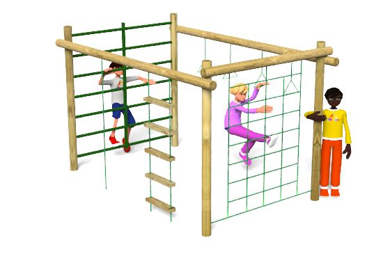 The Carleton 1 Climbing Frame playground equipment includes a scramble net, trapeze rings, climbing bars, climbing rope and rope ladder. http://www.actionplayandleisure.co.uk/carleton-1/