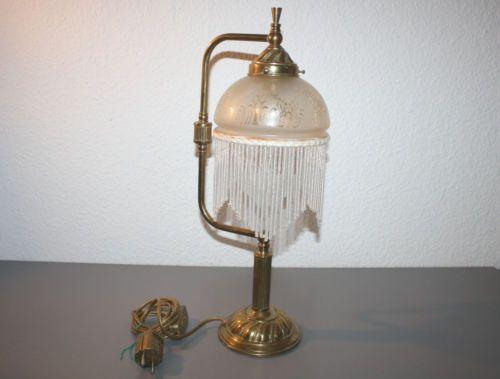 Tischleuchte Tischlampe Schreibtischlampe Jugendstil Design Messing Glas Nachlass EUR