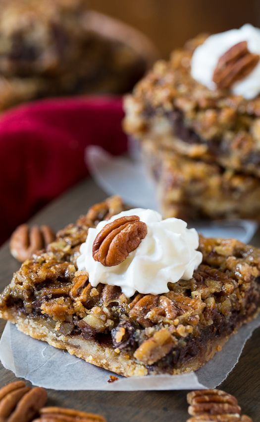 Chocolate Chip Pecan Pie Bars - all the flavor of a pecan pie in easy to eat bar form.