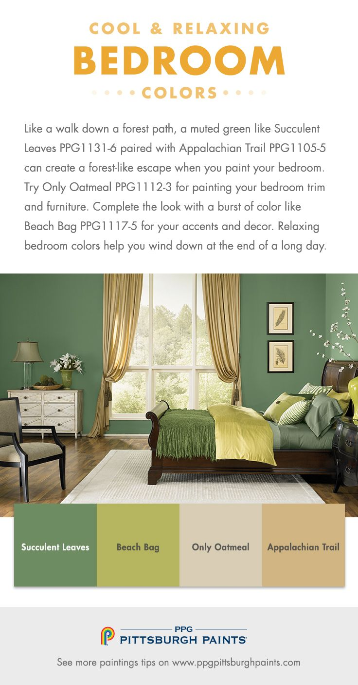 Cool & Relaxing Paint Colors for Bedrooms - Like a walk down a forest path, a muted green like Succulent Leaves PPG1131-6 paired with Appalachian Trail PPG1105-5 can create a forest-like escape when you paint your bedroom. Try Only Oatmeal PPG1112-3 for painting your bedroom trim and furniture. Complete the look with a burst of color like Beach Bag PPG1117-5 for your accents and decor. Relaxing bedroom colors help you wind down at the end of a long day.