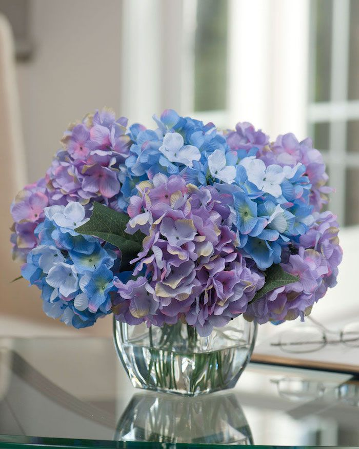 Blue Purple Flowers Square Vase Glass Table Spring Flower Arrangements Small Bo In 2020 Purple Flower Arrangements Silk Hydrangeas Centerpiece Blue Flower Arrangements