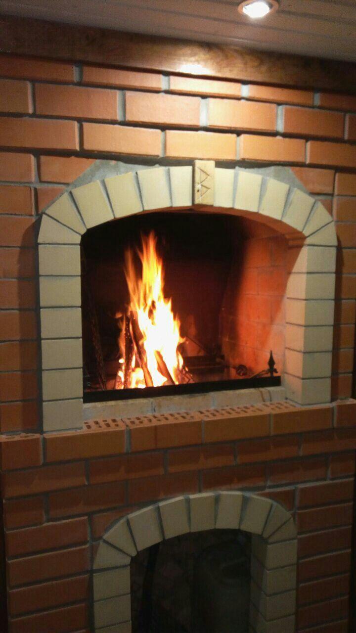 мангал из кирпича, огонь