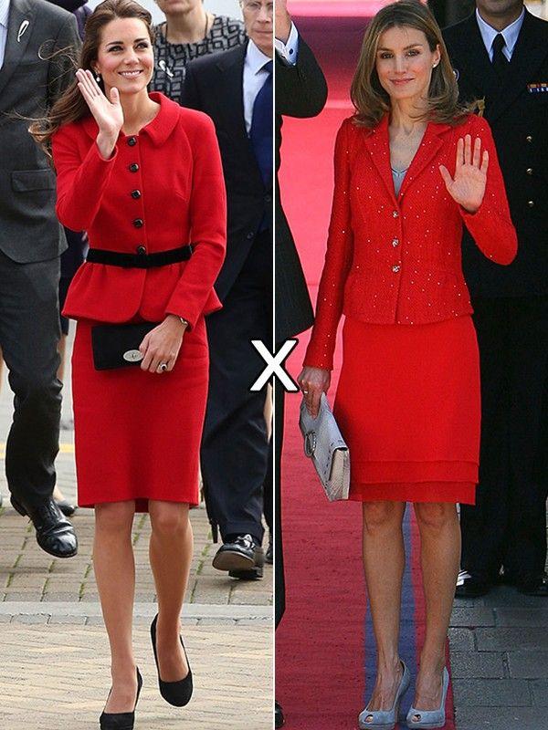 Kate Middleton adora apostar em conjuntinhos. O modelo vermelho e preto da estilista Luisa Spagnoli, no entanto, não tem a mesma delicadeza do look usado pela princesa Letizia, que apostou em pontinhos brilhantes no blazer e babados na borda da saia.