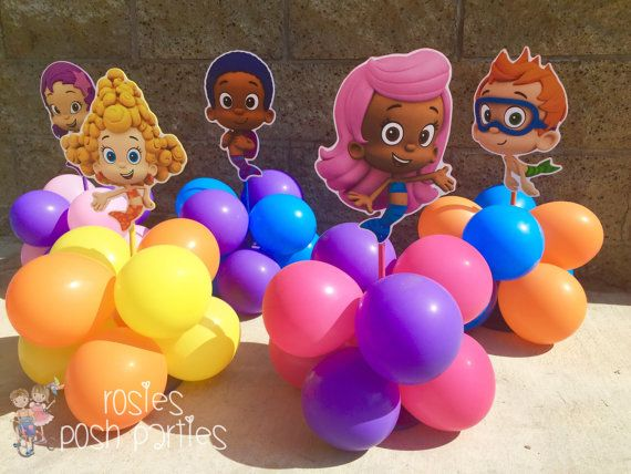 Bubble Guppies centerpiece Wood handcrafted with balloons for 1st 2nd 3rd 4th Birthday Centerpieces set of 6 or 8 for cake table decoration