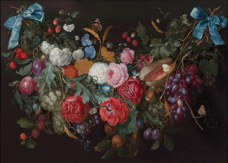 Jacob van Walscapelle. A garland of flowers and fruit with a snail and butterflies