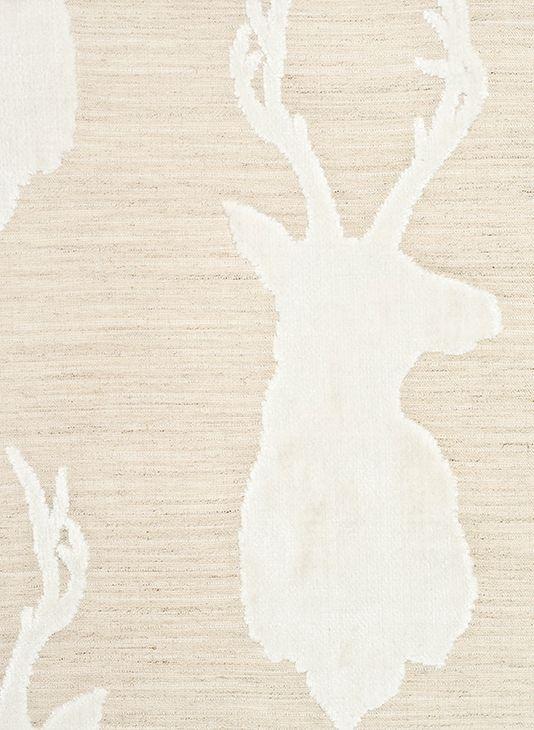 white stag velvet on cream linen fabric