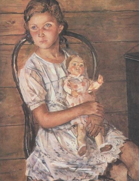 1937 ДЕВОЧКА С КУКЛОЙ, Kuzma Petrov-Vodkin (1878~1939)