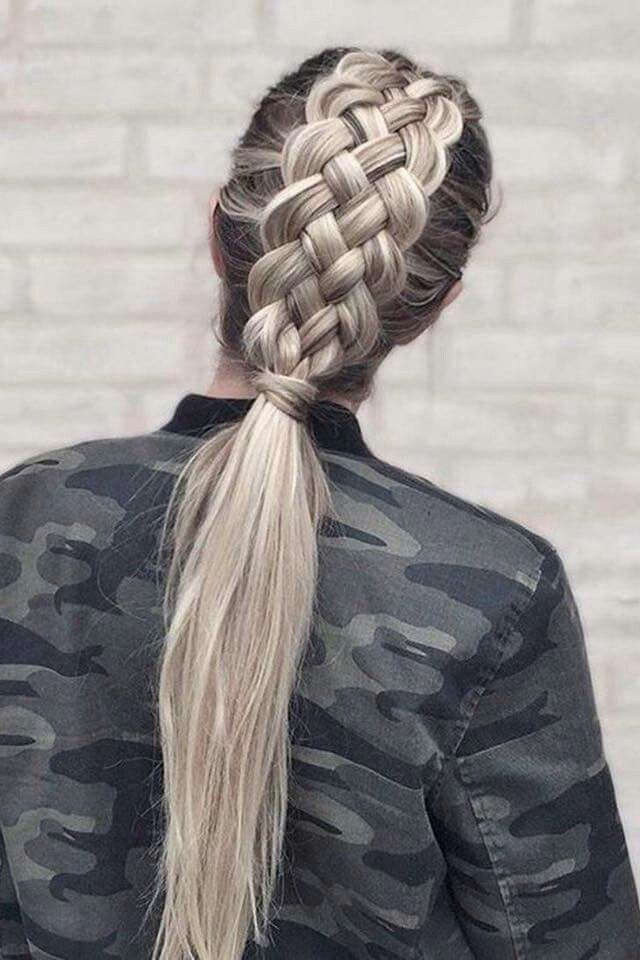 Army woman with cool braid Blonde hair straight and long Awesome hairstyle
