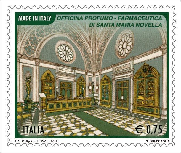 Il francobollo emesso il 10 maggio 2012 raffigura la Sala Vendite dell'Officina Profumo - Farmaceutica di Santa Maria Novella in Firenze, una delle più antiche farmacie ancora attive, arredata con scaffali in stile neogotico, fondata nella prima metà del XIII secolo dai frati domenicani.