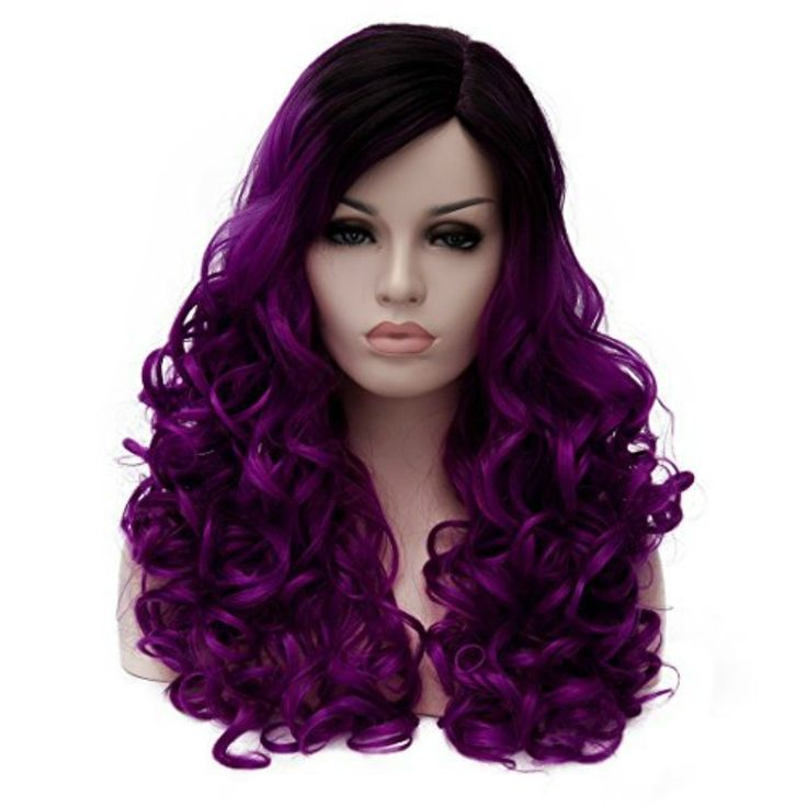 Women's Fashion Long Curly Ombre Purple Hair Wigs For Party Natural Wavy Lolita Harajyuku Layered Cosplay Wig (Color: Purple)