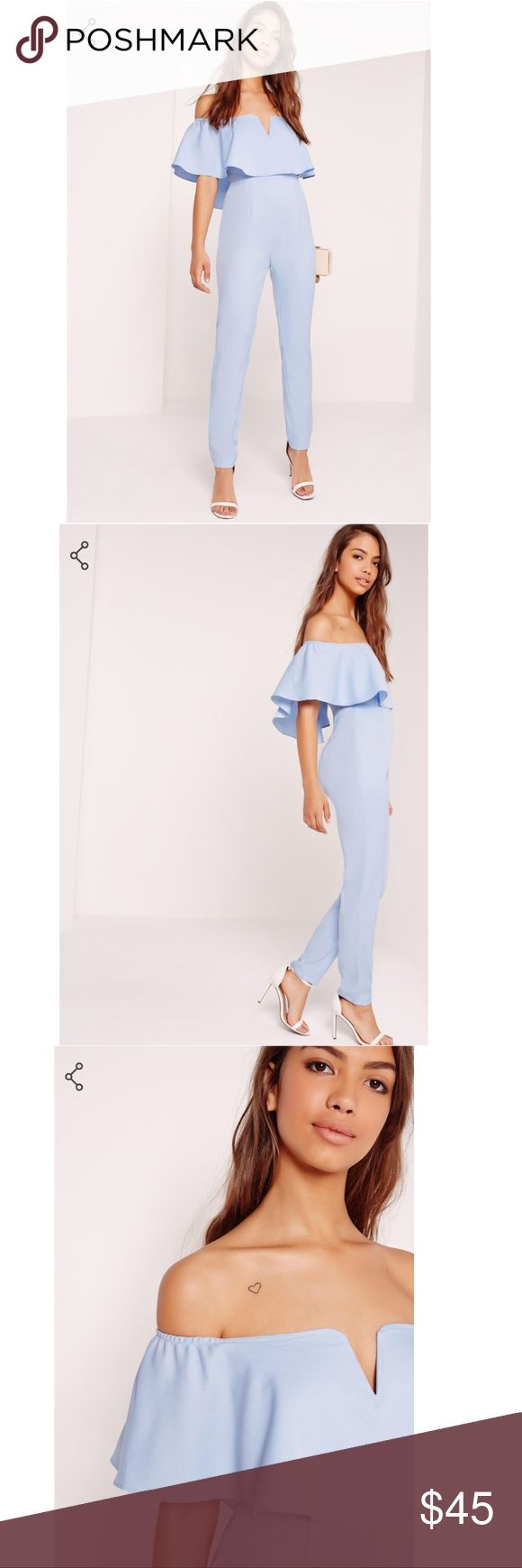 Blue Frill Detail Jumpsuit Tuen up the air conditioner girl, because this jumpsuit is on fire! this bardot beaut will be your new go to piece for the weekend, or whenever. in a baby blue hue with a bardot neckline and frill detail, wear with stacked stilettos and a clutch bag for a killer look. 100% Polyester. Size 10. Missguided Pants Jumpsuits & Rompers