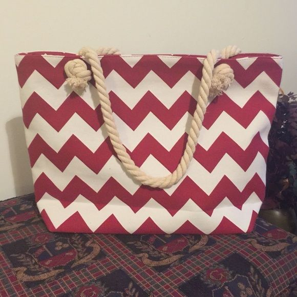 Chevron Canvas Tote with vinyl monogram Maroon and Cream Chevron Tote with rope handles. Fully Lined with zipper closure. Will come with vinyl monogram in your choice color vinyl and font. Bags Totes