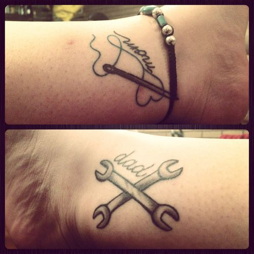 Heart And Mom Dad Tattoo: Story Of Owner: My Dad Is A Mechanic By Trade, My Mom Is