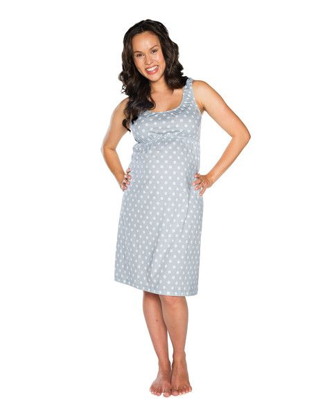 Lisa Maternity & Nursing Sleeveless Nightgown (Grey & White polka dot) Matching robe, baby receiving gown, labor & delivery gown and pillowcase available! www.milkandbaby.com