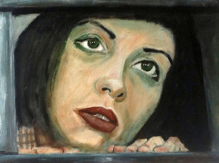 "Women behind bars: Nadezhda Tolokonnikova, ""Pussy Riot"", in court. acrylic on paper"