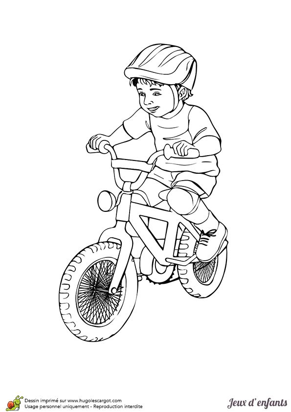 image d un petit gar on sur son joli v lo colorier coloriages enfants pinterest fils. Black Bedroom Furniture Sets. Home Design Ideas