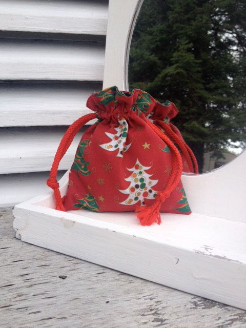 Red christmas tree design bag with drawstring gift by Kirstyflo