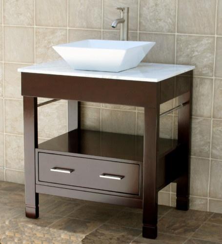 Picture Gallery For Website  Bathroom Vanity Cabinet Marble Top Vessel Sink CG