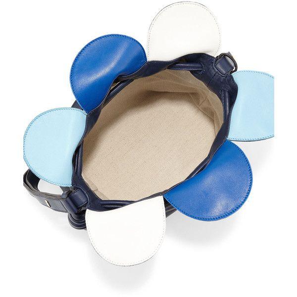 Loewe Flamenco Small Petal Bag ($1,900) ❤ liked on Polyvore featuring bags, handbags, shoulder bags, navy purse, loewe purse, navy blue handbags, colorful handbags and navy shoulder bag