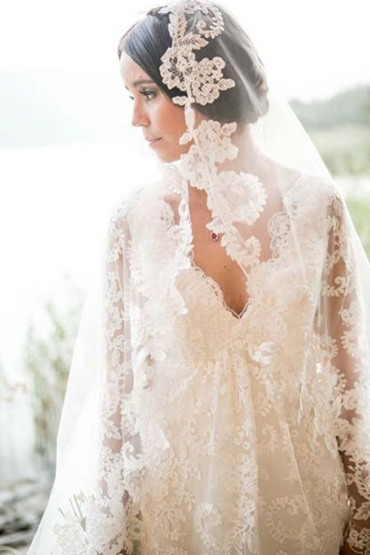 Custom vintage lace empire style Wedding Dress with lace sleeves and lace edged veil by Maryke www.maryke.co.za Photo by http://www.bryanpowellphotography.blogspot.co.za/