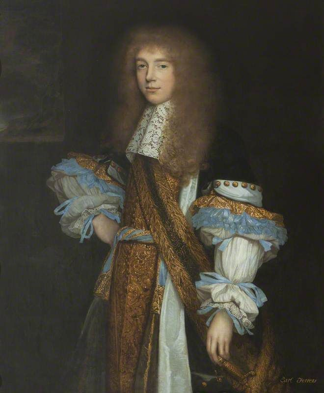 Sir Robert Shirley (1650–1717), 7th Bt, 6th Baron Ferrers of Chartley and 1st Earl Ferrers, PC.  John Michael Wright (1617–1694).  National Trust, Sudbury Hall.