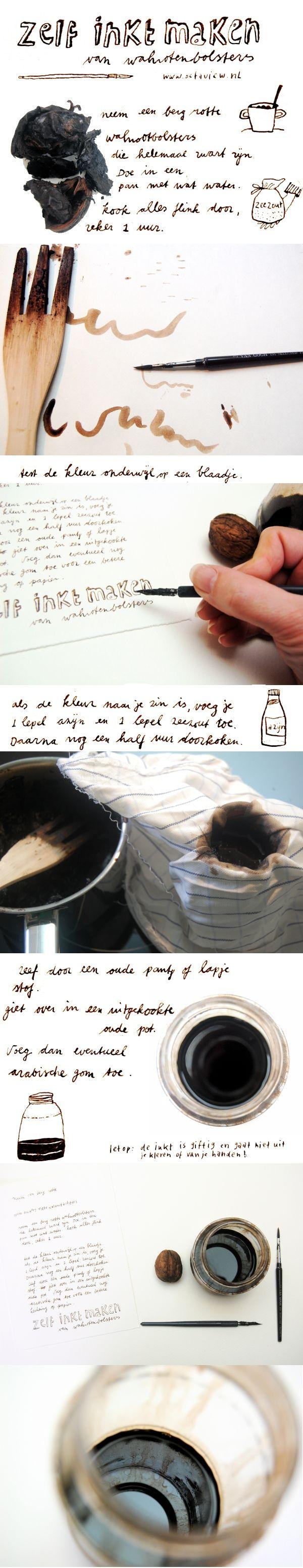 Zelf inkt maken van walnotenbolsters // recept van Octaview