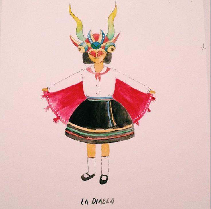 La diabla. Mi primer cuadro en acuarela. Es un autorretrato de cuando baile la tirana en el jardín. de slinossier