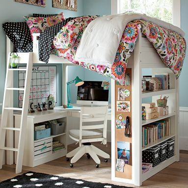 Still trying to decide on the bunk bed idea for my future dorm. Full size mattress on top and plenty of study space on bottom!
