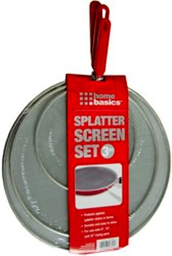 Splatter Screen Set 3 Piece Kitchen Bacon Grease Cover Pan Cooking Stop Fry Mess