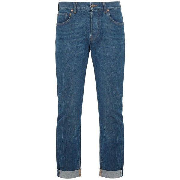 Gucci Slim-fit embroidered jeans (16,025 MXN) ❤ liked on Polyvore featuring men's fashion, men's clothing, men's jeans, blue, mens blue jeans, mens slim fit jeans, gucci mens jeans, mens slim cut jeans and mens slim jeans