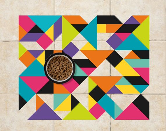 MidCentury Triangles Pet Food Mat. by SniffItOutPetMats on Etsy, $21.00