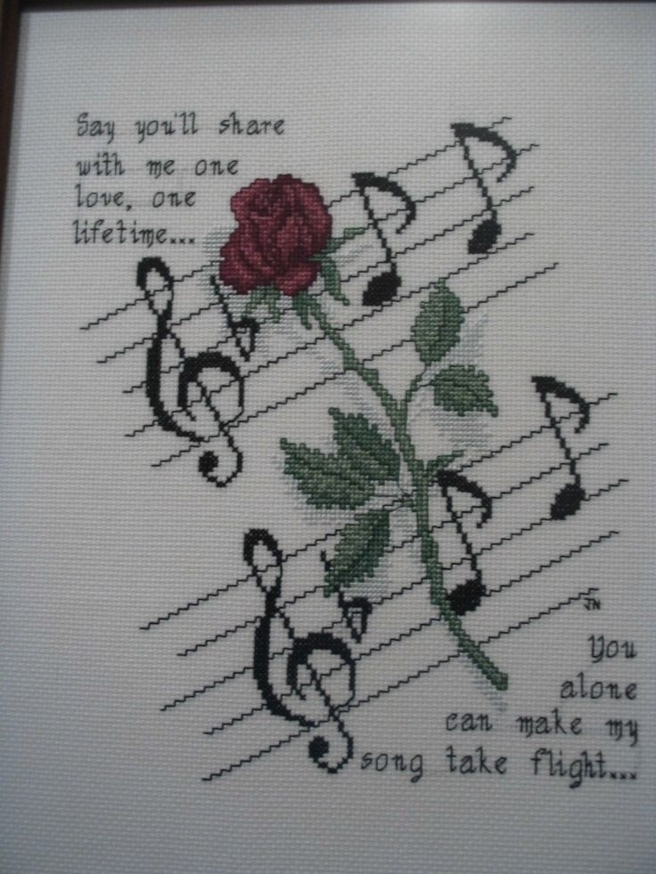 'Rose and Music' Cross Stitch Pattern