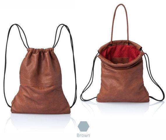 Borsa zaino di zaino in pelle marrone - multi-way modello a sacco vendita cuoio borsa morbida pelle indietro borsa borsa - zaino-zaino con coulisse