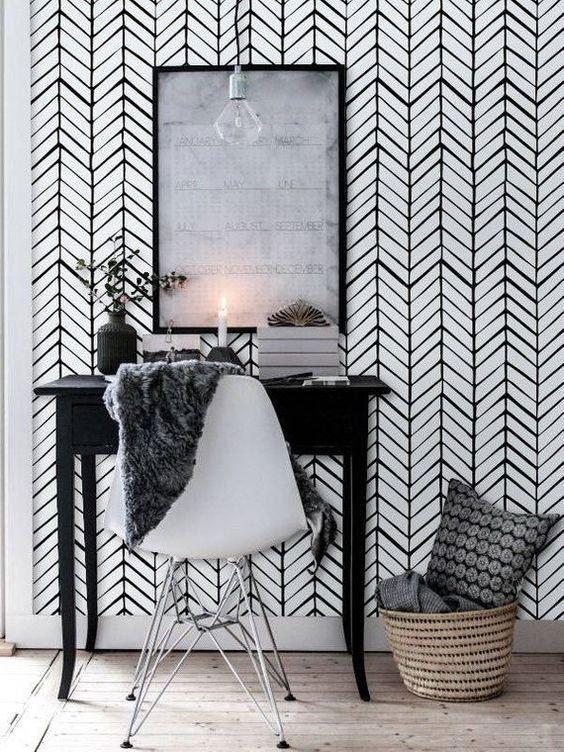Bold Print Wall Paper Herringbone Wallpaper Vinyl Wallpaper Black Chevron Wallpaper