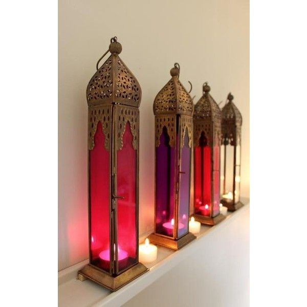 Pink Tall Moroccan Style Lantern ❤ liked on Polyvore featuring home