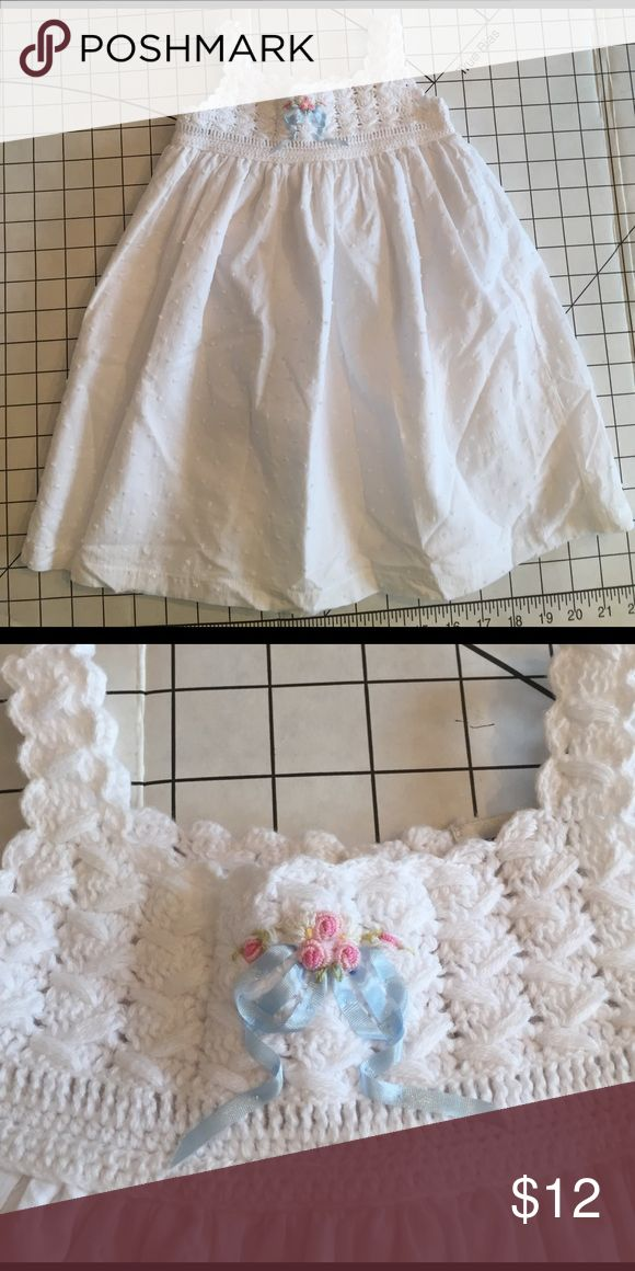 Victoria Kids beautiful white dress Beautiful white dress. Crocheted top with embroidered blue bow all cotton and lined victoria kids Dresses Casual