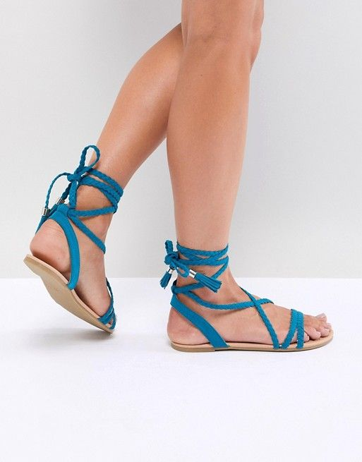 63b6e798e151b DESIGN Fayla Plaited Tie Leg Flat Sandals in 2018