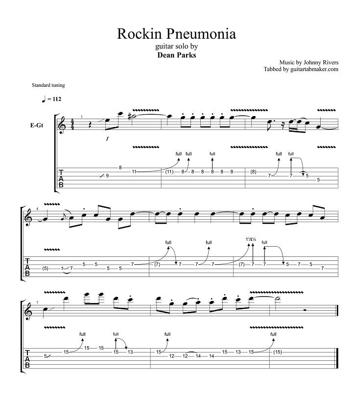 Dean Parks - Rockin Pneumonia guitar solo tab - PDF guitar sheet music - Guitar Pro tab