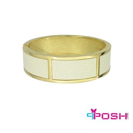 Julie - Bracelet White Leather fabric design Bangle -Gold colour bangle -Dimensions: 7X 2 cm