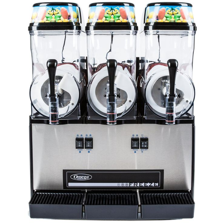 Omega OFS30 1/3 HP Slushy / Granita Machine with 3 Hoppers - Black and Stainless Steel 120V