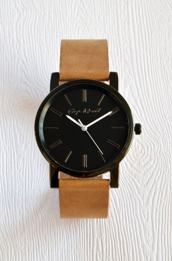 c42216473 Minimalist Stainless Steel Watch with Tailored Leather Strap - Black Case/Black  Face/White Color Han