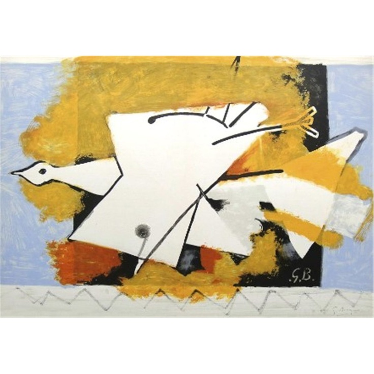 Original color lithograph by georges braque l oiseau for Miroi log in