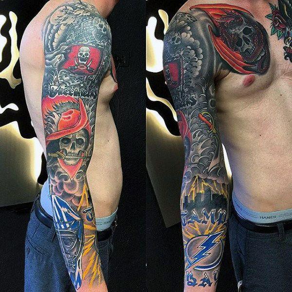 70 Football Tattoos For Men Nfl Ink Design Ideas Football Tattoo Tattoos Leg Tattoo Men