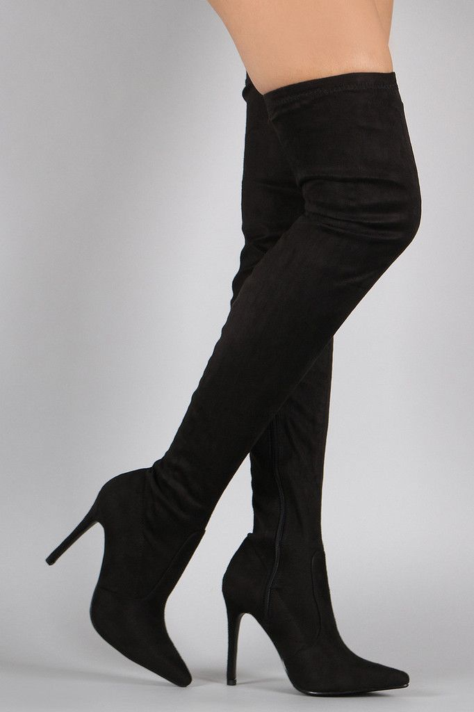 suede pointy toe stiletto the knee boots zippers