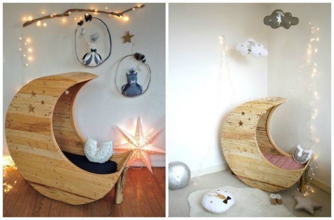 Love this moon-shaped cradle <3     16superb ways touse wooden pallets athome that you never knew about