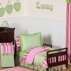 "Olivia Girls Boutique Pink and Green Toddler Bedding - 5pc Set by Sweet Jojo Designs  ""I want to win a children's set from http://beyond-bedding.com."""