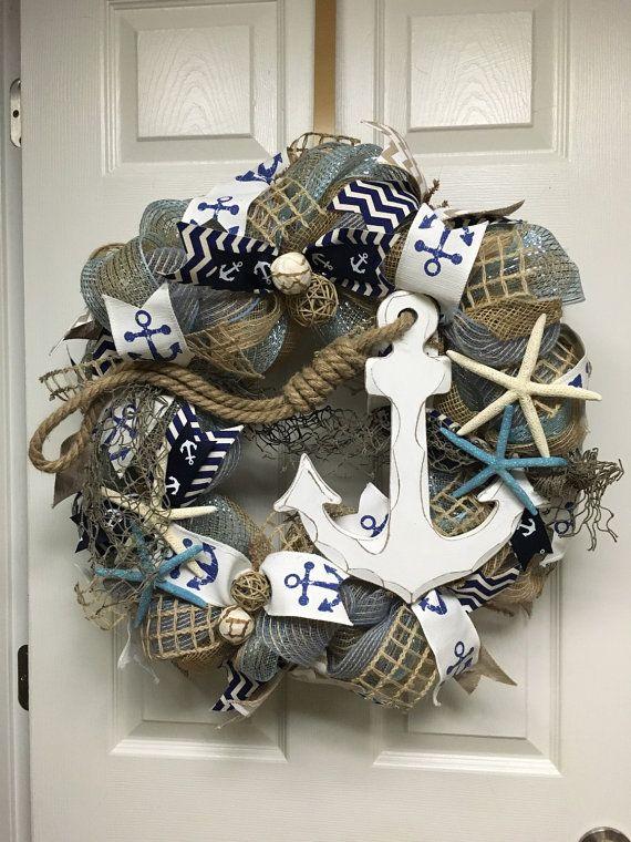 Nautical Wreath Anchor Wreath Beach House by ItsAlwaysSunnyInStL