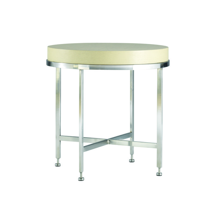 Galleria Chalk White on Ash End Table with Brushed Stainless Steel base.